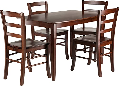 Winsome Inglewood 5-PC Set Table w 4 Ladderback Chairs Dining, Walnut