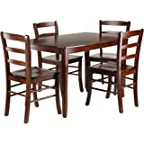 Winsome Inglewood 5-PC Set Table w/ 4 Ladderback Chairs Dining, Walnut