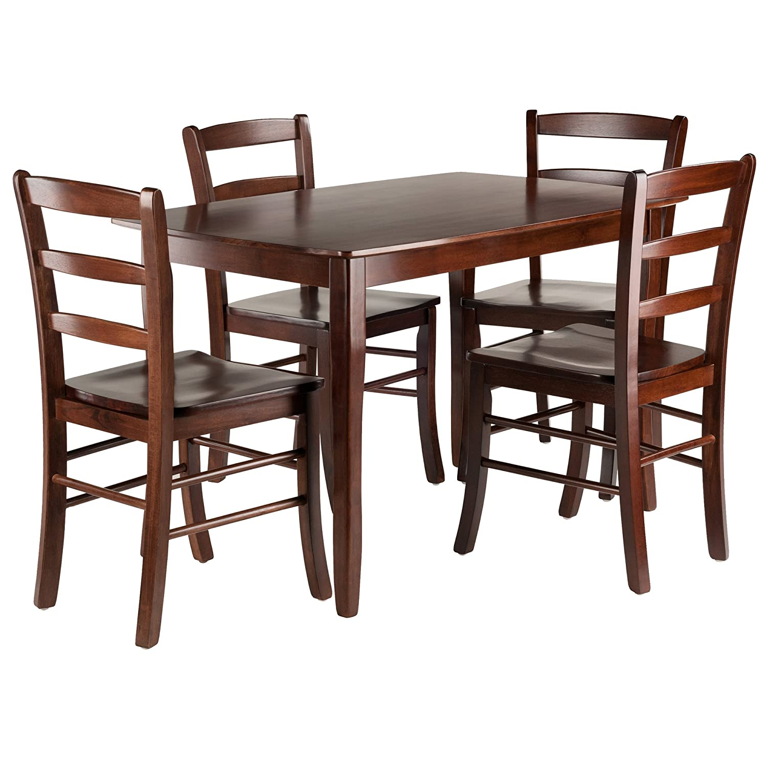 Amazon com winsome wood 94508 inglewood 5 pc set table w 4 ladderback chairs dining walnut table chair sets