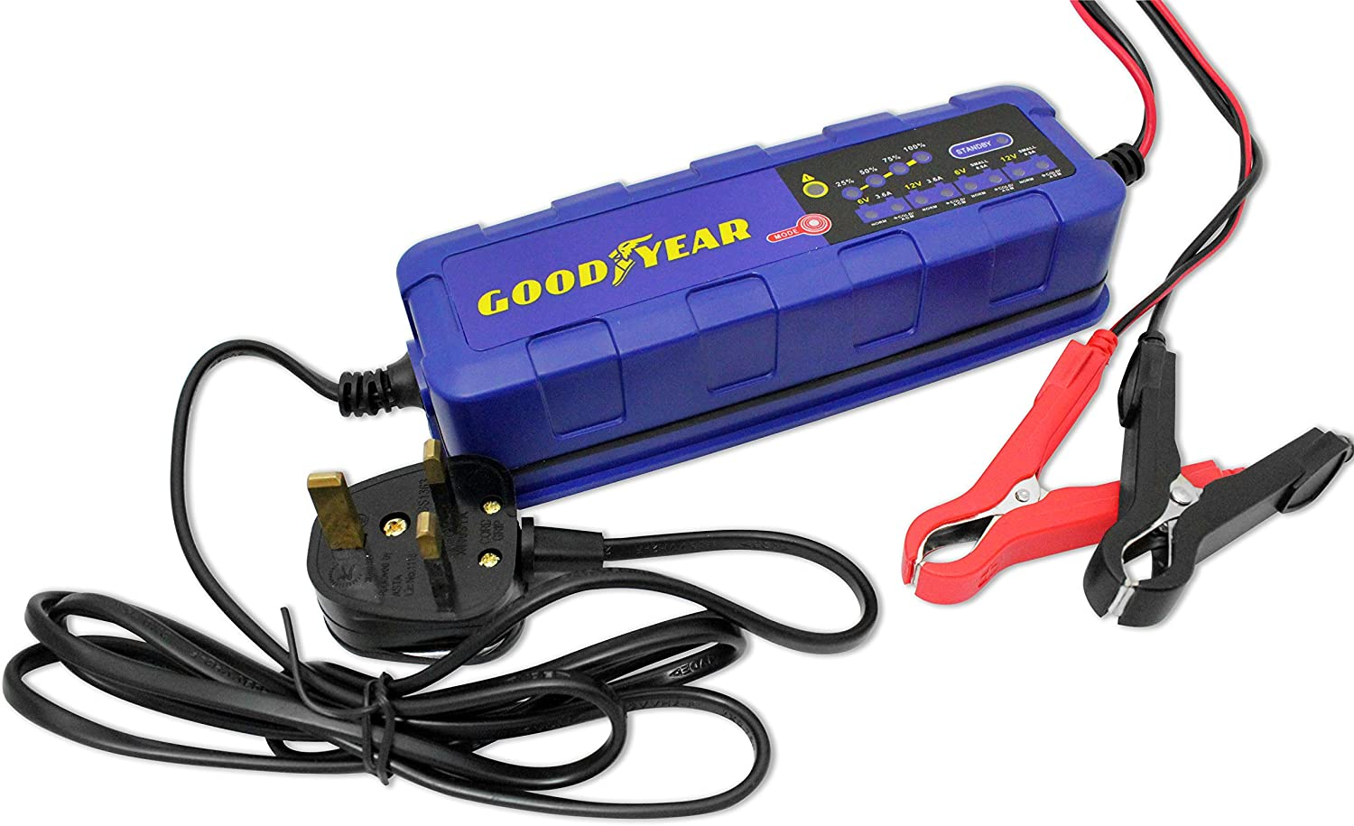 Goodyear Battery Charger Maintainer for 6v 12v Lead Acid and Gel Batteries