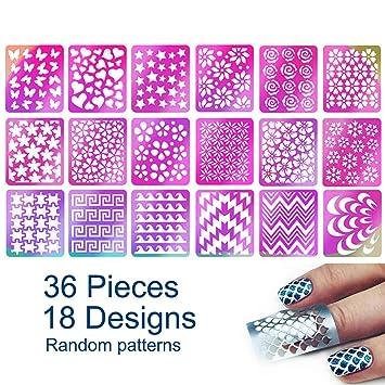 Amazon Com Tailaimei 36 Pieces 18 Designs Nail Vinyls Stencil