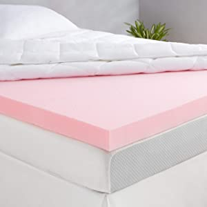 AmazonBasics Rose Scent-Infused Memory Foam Bed Mattress Topper - Ventilated, CertiPUR-US Certified, 3 Inch, King
