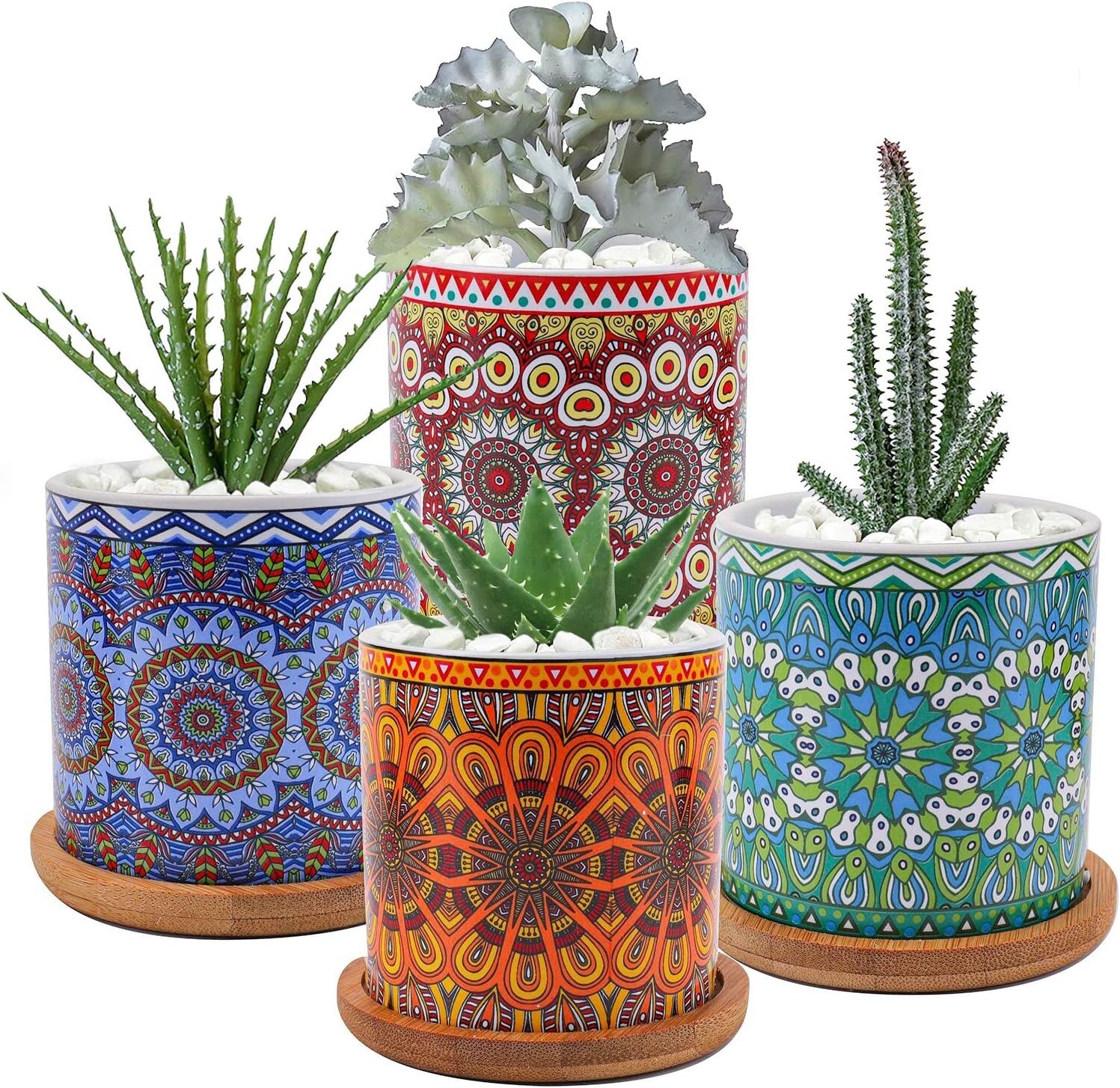 Yesland Succulent Plant Pots with Bamboo Tray, 4 Pack Ceramic Mandalas Pattern Cylinder Planter, for Home Garden Office Decoration