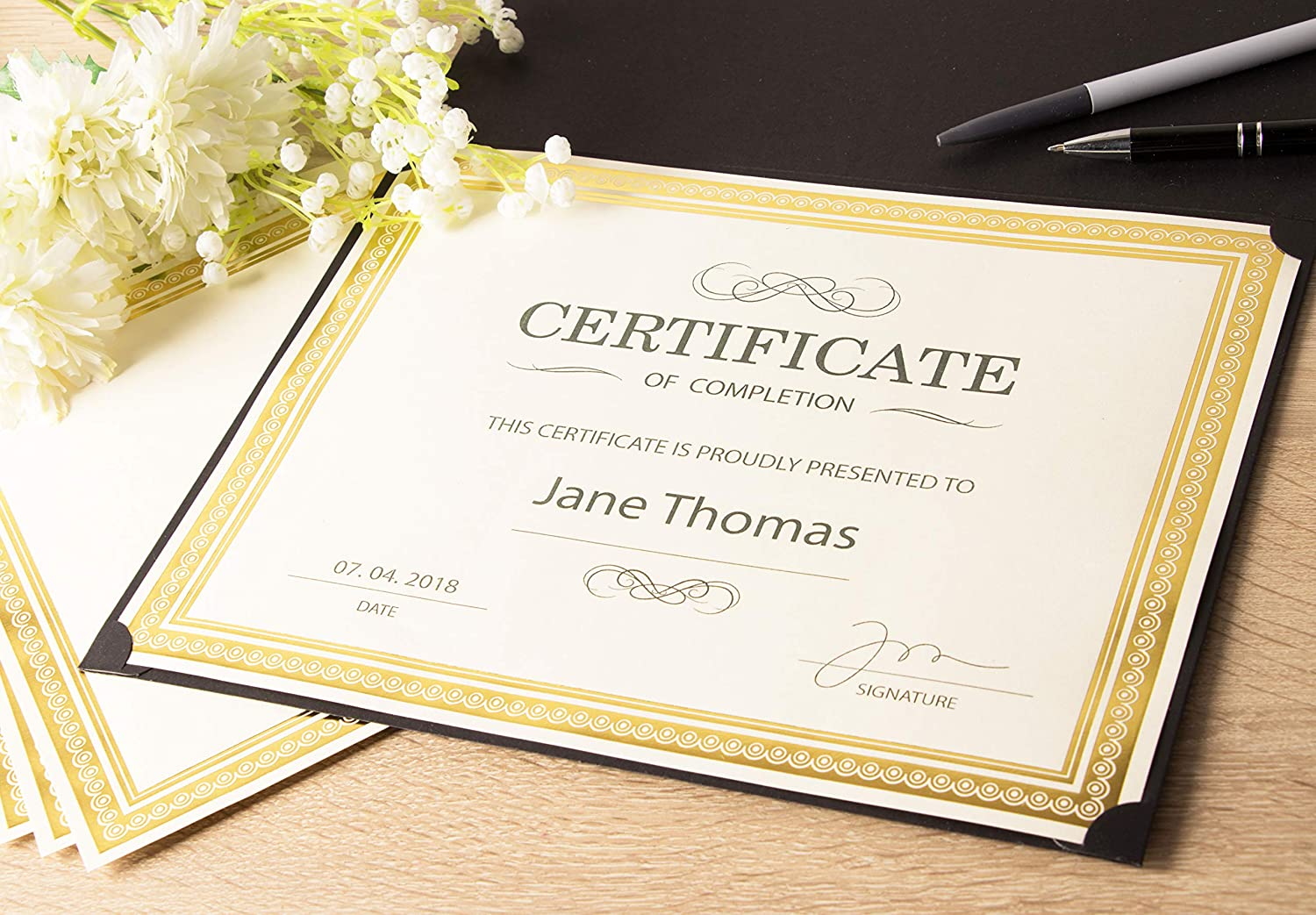 award certificates 25 blank plain paper sheets with silver foil