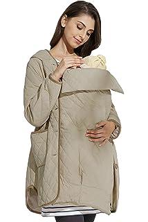 f259a0f5865e3 zenicham Women's Stitching Hooded Fur Collar Long Maternity Coat ...