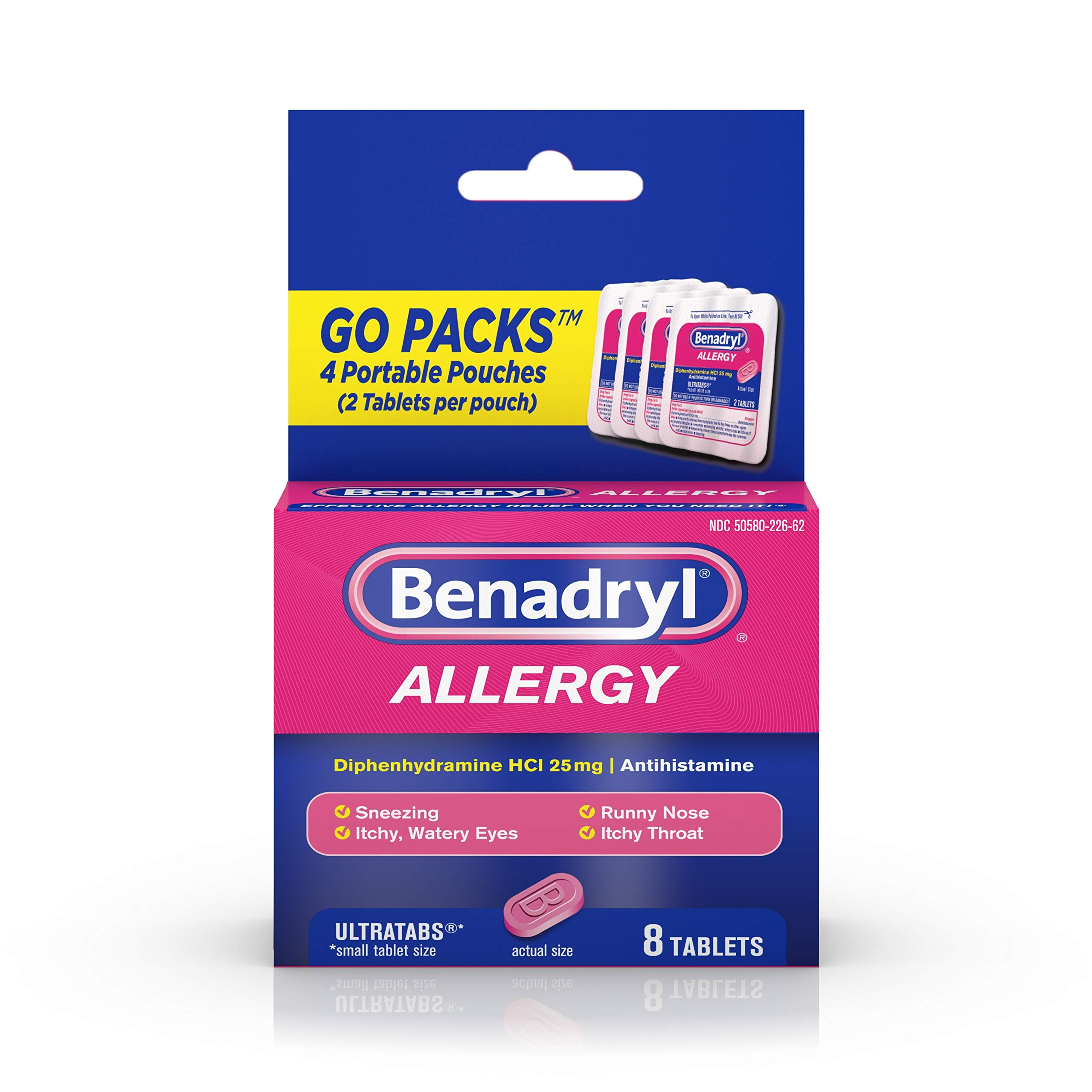 Benadryl Ultratabs Go Packs, Antihistamine Tablets with Diphenhydramine HCl,2 Count (Pack of 4)