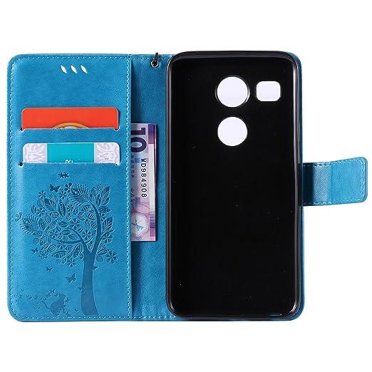 Z-02 Nexus 5X Funda Estar Flip PU Cuero Billetera Caso Carcasa Para LG Nexus 5X Con Crédito Tarjeta Poseedor Espacio Dooki