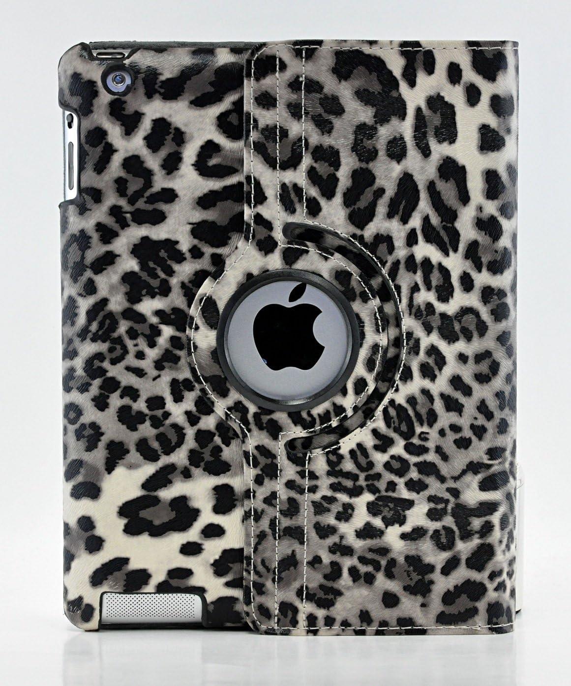 LiViTech(TM Leopard Design Series 360 Degree Rotating PU Leather Case Cover for Apple iPad (iPad Mini 1 2 3, Gray)