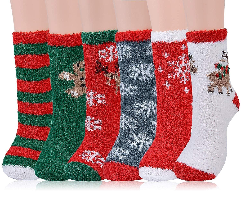 Christmas Fuzzy Socks.Christmas Socks For Women Aniwon 6 Pairs Christmas Fuzzy Socks Soft Cozy Socks Warm Socks Holiday Crew Socks