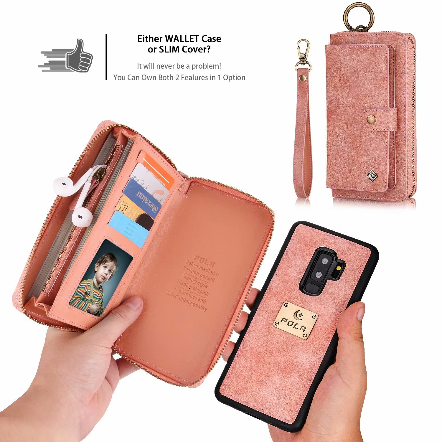 Galaxy S9 Plus Wallet Phone Case,GX-LV Samsung Galaxy S9 Plus Wallet Case Leather Case Cover Zipper Pouch with 14 Card Holder,Magnetic Detachable Case For Samsung Galaxy S9 Plus (Pink) by GX-LV (Image #3)
