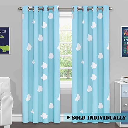 HVERSAILTEX Blackout Sky Blue Cloud Curtains For Boys Room Thermal Insulated Kids Curtain