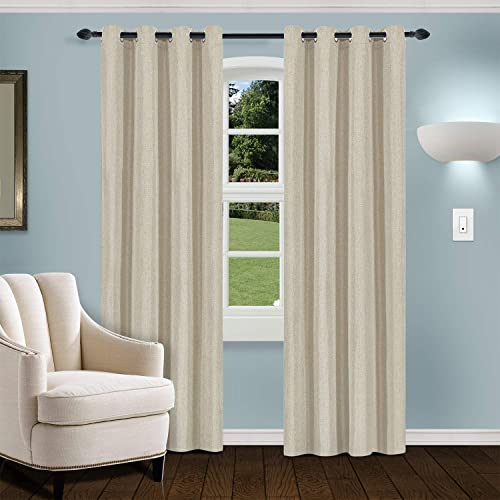SUPERIOR Linen Blackout 2 Panel Curtains 52X108 - the best window curtain panel for the money