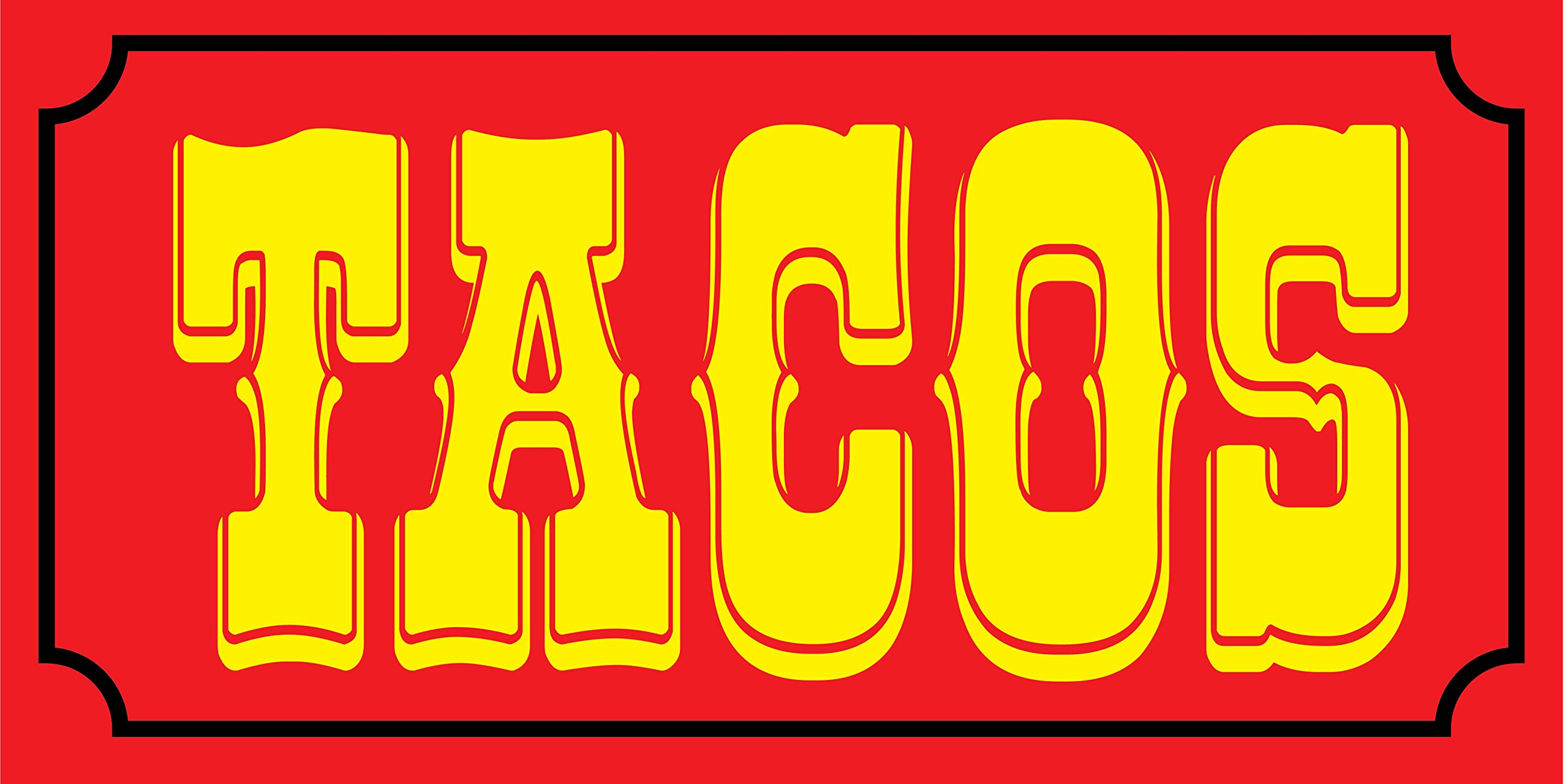 Pre-Printed Tacos Banner - Solid - Red (10' x 5')