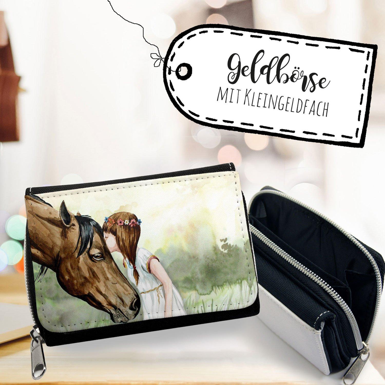ilka parey wandtattoo-welt® Portemonnaie Portmonee Geldbörse Brieftasche Pferd Mädchen mit Blumenkranz gk095