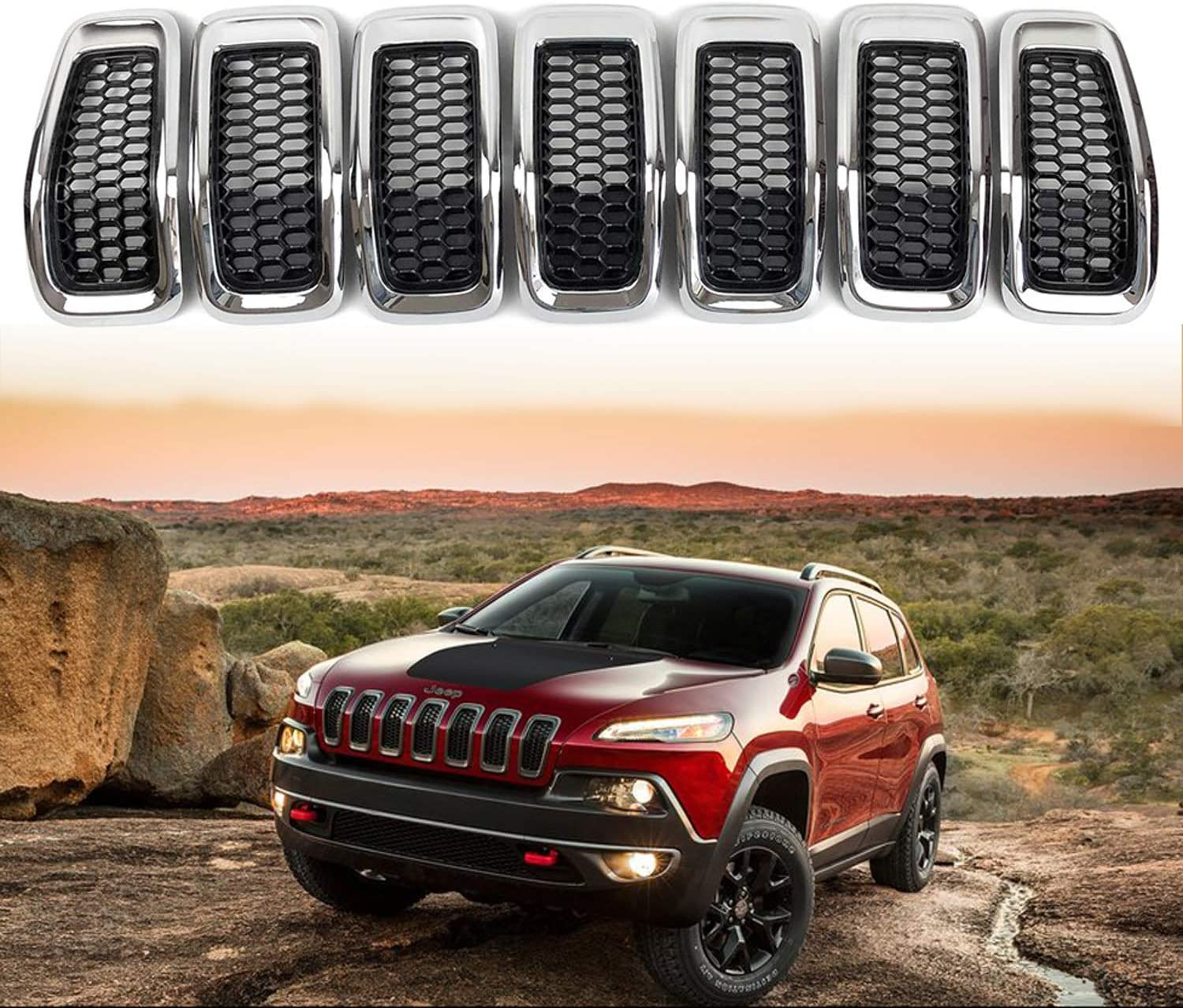 YAV Grill Inserts Grille Insert for Jeep Cherokee 2014 2015 2016 2017 2018 Black Grille Honeycomb Mesh with Chrome Rings Accessories 7pcs