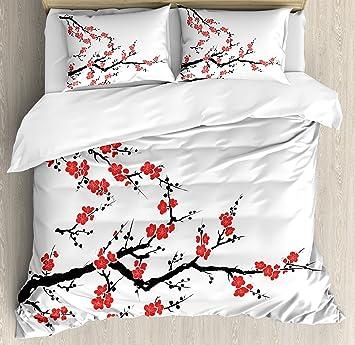 Navy Blue Duvet Cover Set with Pillow Shams Modern Flower Petals Print