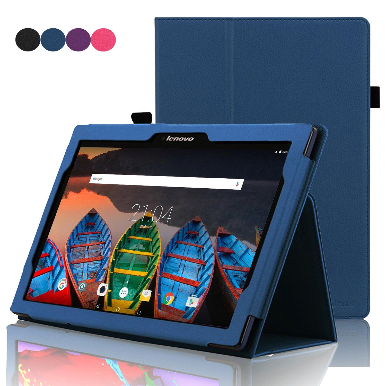 ACdream Lenovo Tab 2 A10 & Lenovo Tab3 10 Business Case, Folio Leather Cover Case for Lenovo Tab2 A10-70/Tab2 A10-30/TAB-X103F Tab 10/Tab3 10 Business Tablet, Dark Blue BC25474