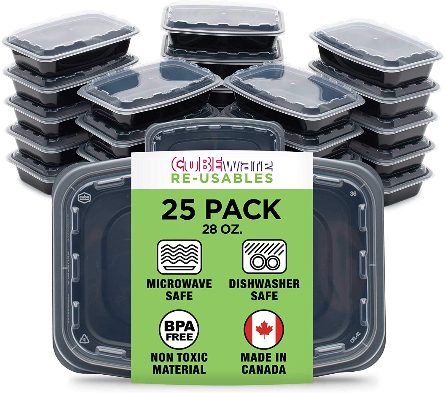 Cubeware 25-Pack Snap-Seal, Microwavable, Dishwasher and Freezer Safe, Reusable Food Storage Bento Box, Meal Prep Containers (28 oz, BPA Free)