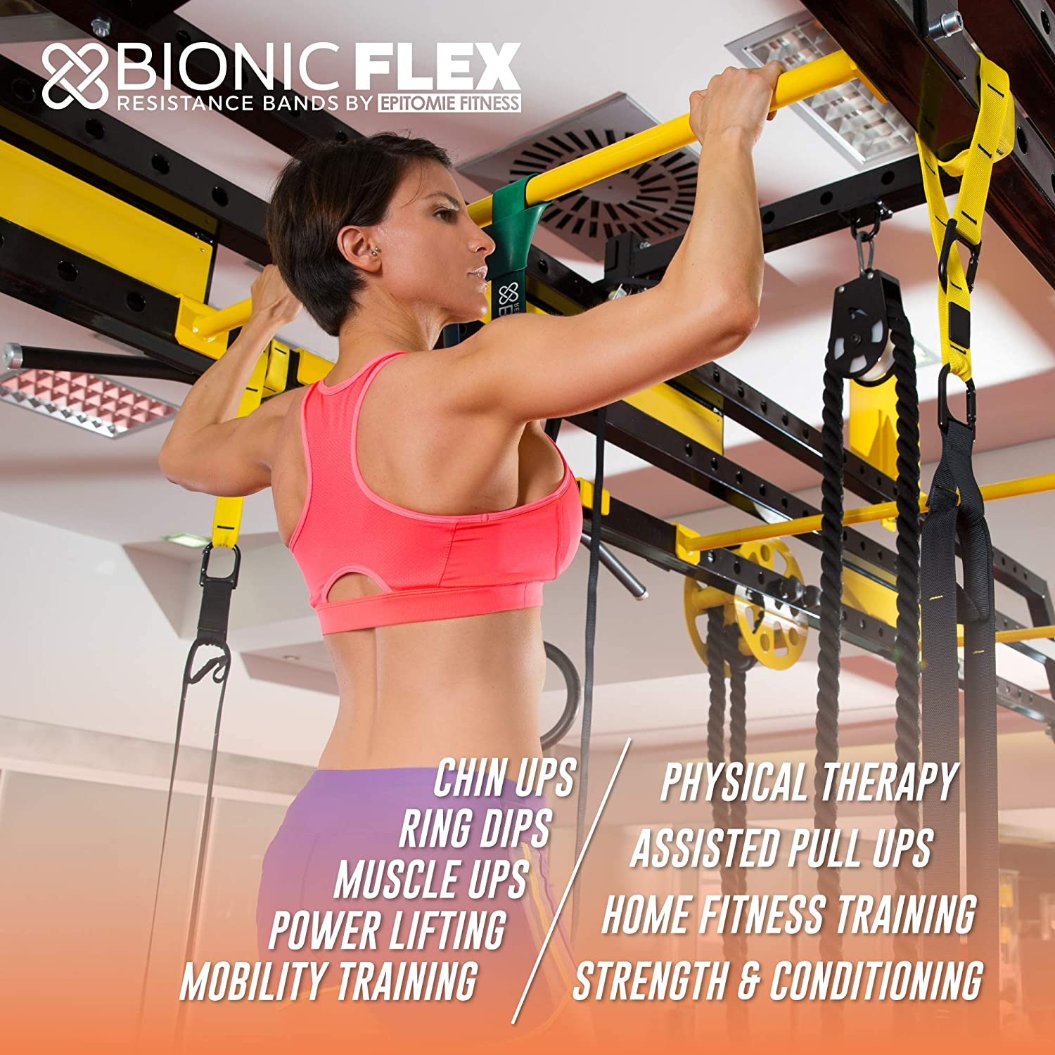 Epitomie Fitness Bionic Flex Pull Up Assistance Band – Premium Dual Layer Pull Up Assist Bands for Strength Training Exercise, Physical Therapy, Powerlifting, Stretching – Set of 4 Resistance Bands : Sports & Outdoors