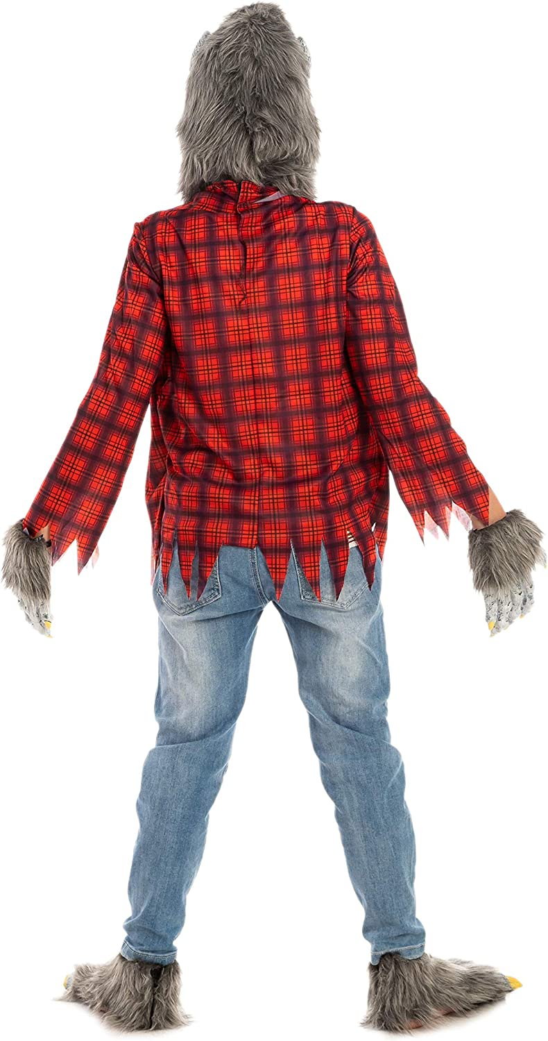 Gloves and Shoes Red Werewolf Halloween Kids Costume with Mask