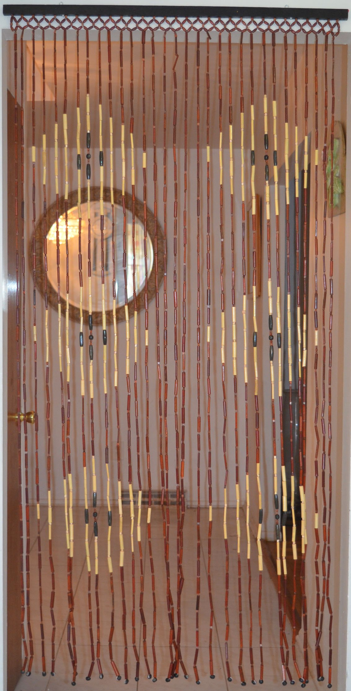 Natural Bamboo & Wood Beaded Curtain, Diamond Pattern , 35.43'' W X 71'' H # 69-907 by H2H (Image #3)
