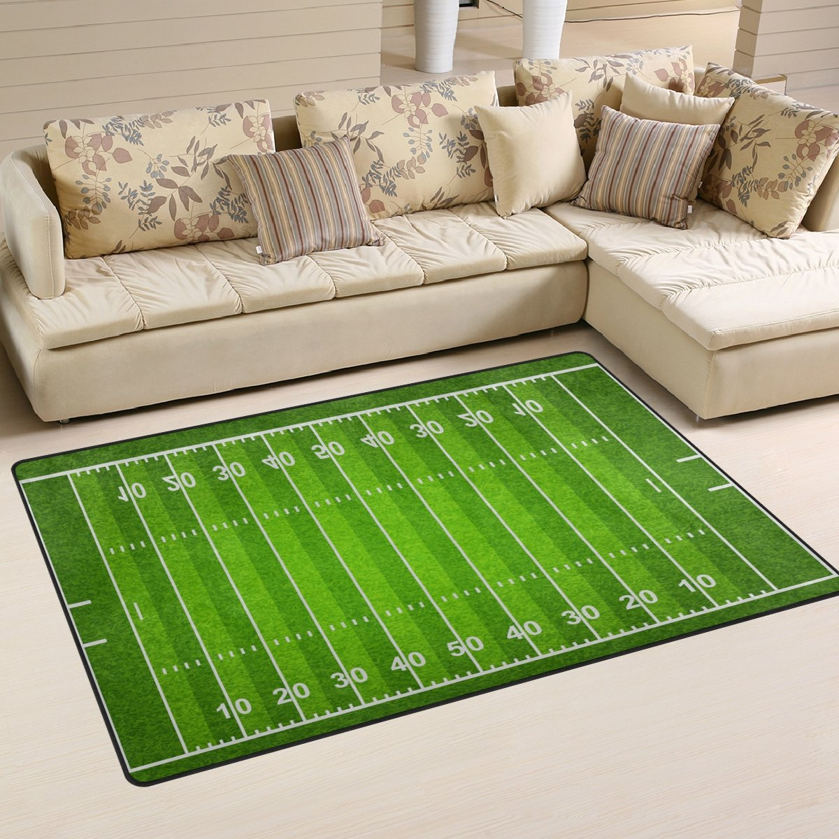 WellLee Sports Area Rug,Standard American Football Field Floor Rug Non-slip Doormat for Living Dining Dorm Room Bedroom Decor 31x20 Inch by WellLee