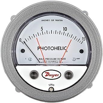 Range 0-0.50WC Range 0-0.50WC Dwyer Instruments A3000-0 Dwyer Photohelic Series A3000 Pressure Switch//Gauge