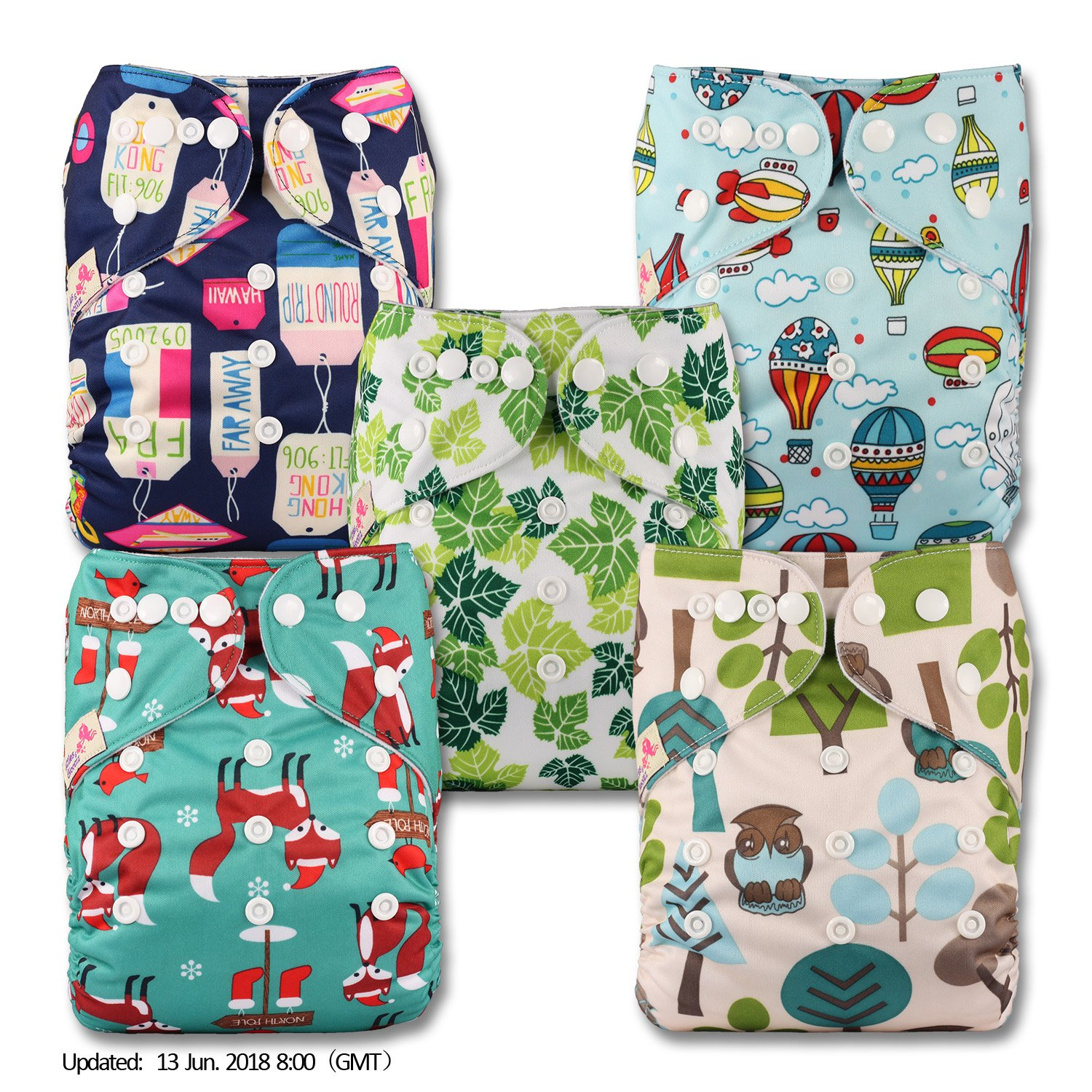 LittleBloom, Reusable Pocket Cloth Nappy, Fastener: Popper, Set of 5, Patterns 513, With 5 Microfibre Inserts Littles & Bloomz