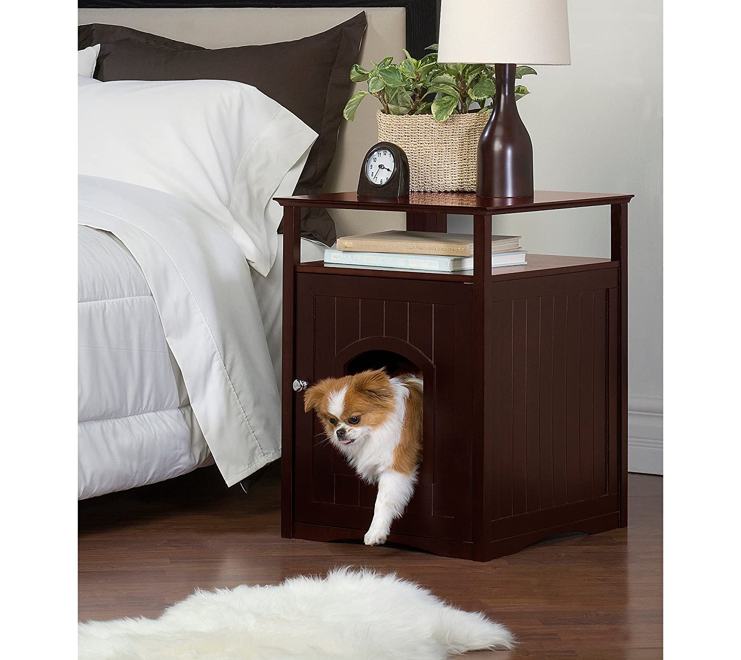 Amazon.com: Merry Products Nightstand Pet House/Cat Litter Box Cover  Walnut: Pet Supplies