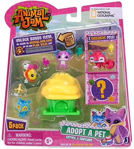Amazon Com Animal Jam Series 3 Adopt A Pet 5 Pack Style 2 Toys