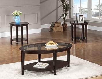 Amazon Com Beverly Furniture Oval Modern Glass 3 Piece Coffee