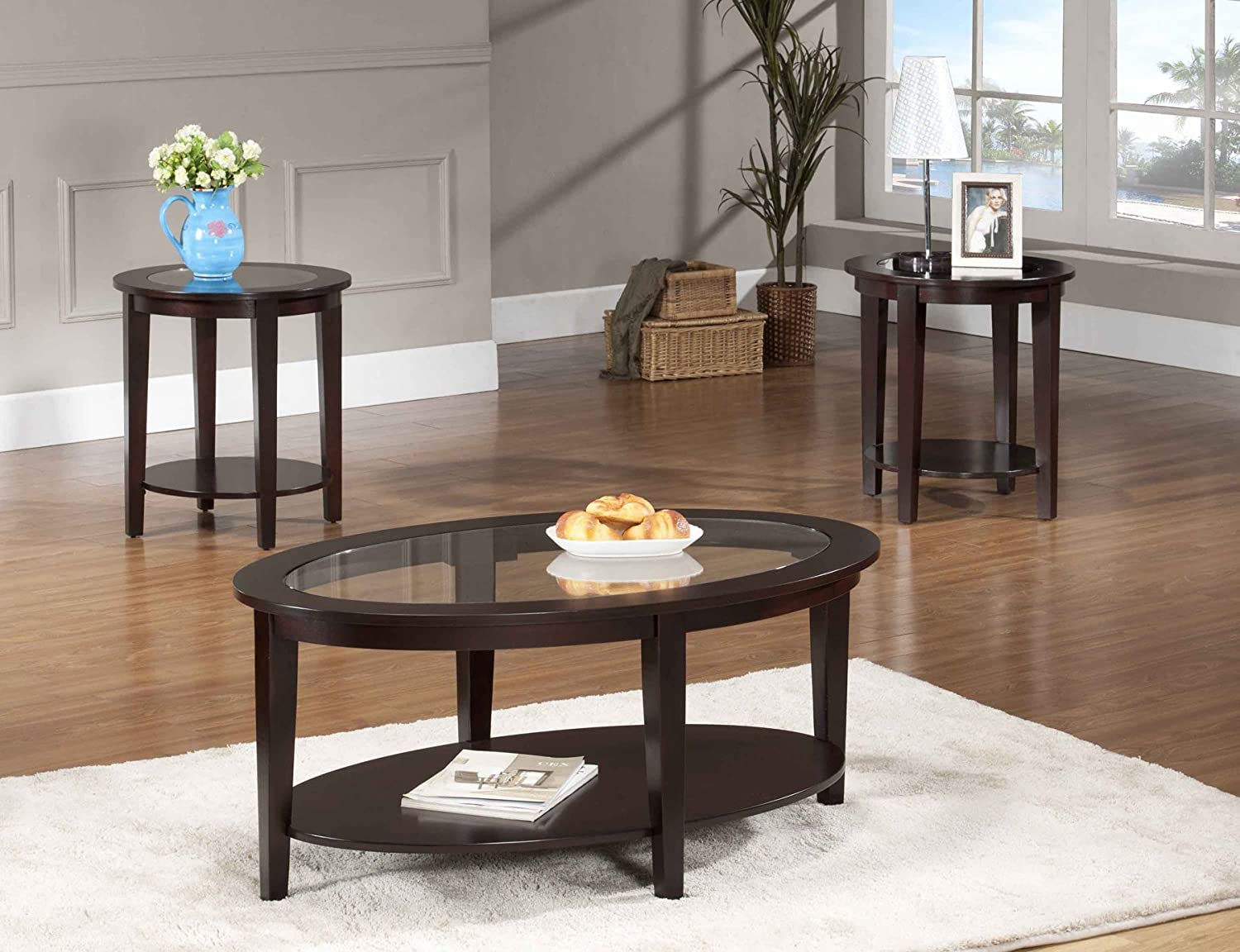 Amazon.com: Beverly Furniture Oval Modern Glass 3 Piece Coffee Table Set:  Kitchen U0026 Dining
