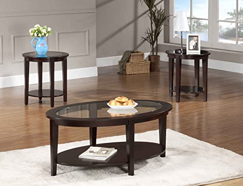 Beverly Furniture Oval Modern Glass 3-Piece Coffee Table Set