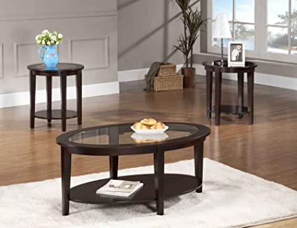 Beverly Furniture Oval Modern Glass 3 Piece Coffee Table Set