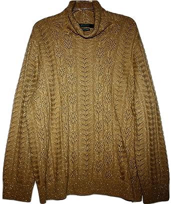 9f1f9aad2e8d2 Lauren Ralph Lauren Woman Plus Metallic Gold Wool Cashmere Sweater (2X Plus)