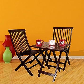 Santosha Decor Sheesham Wood Two Folding Chair And Dining Table - Mahogany Finish