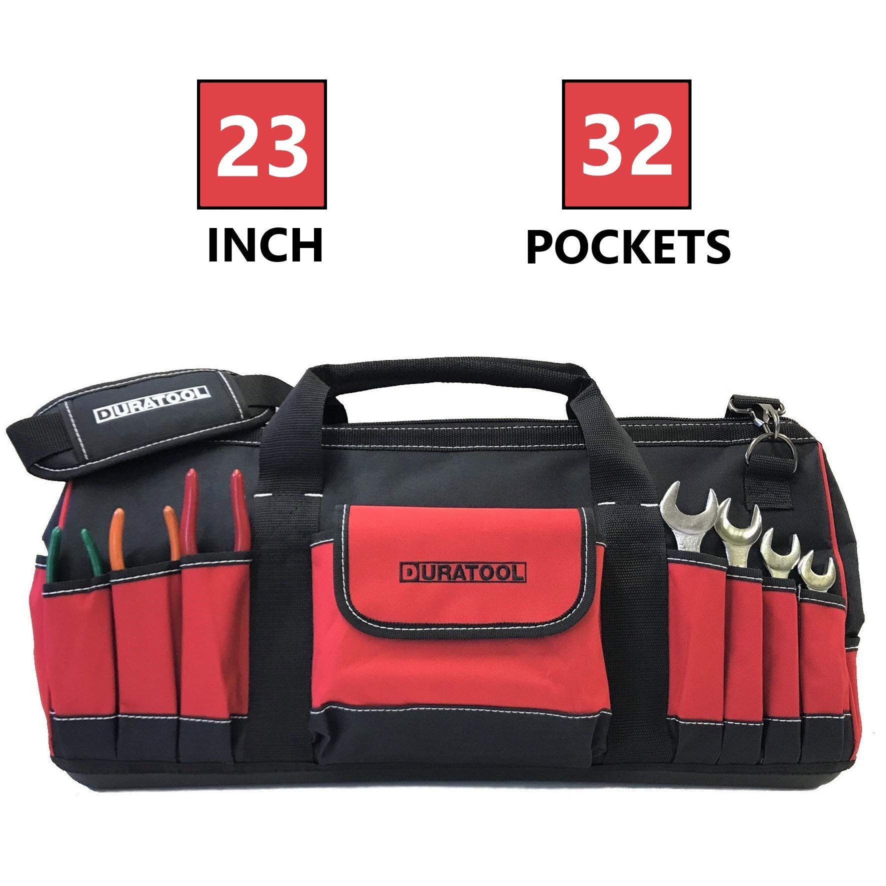 DURATOOL 23-inch Heavy Duty Large Tool Bag with 32 Pockets Adjustable Strap Wide Mouth Waterproof Base Multiple Pouches Tools Bag Tote for Construction Mechanic Electrician Tool Bags for Men and Women