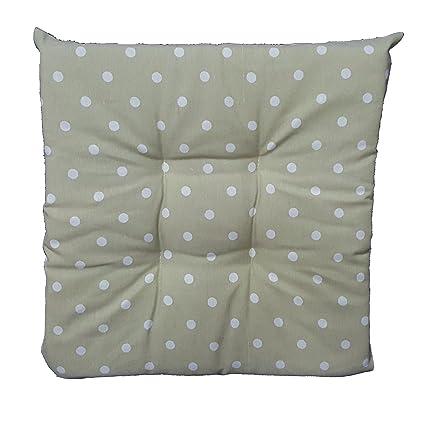 Set de 6 cojines gris lunares Color Blanco, acolchado centro silla ...