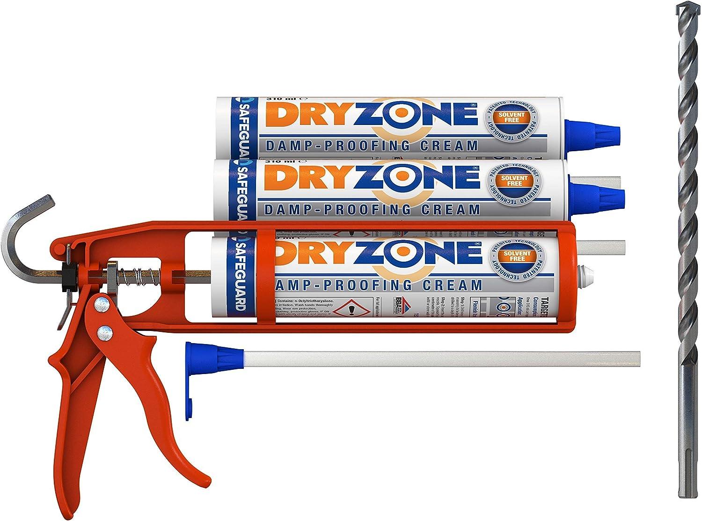 Dryzone kit de inyección química para tratamiento de humedad capilar - Incluye gel de inyección + Pistola de calafateo + Broca Dryzone (cubrimiento de 5 metros)