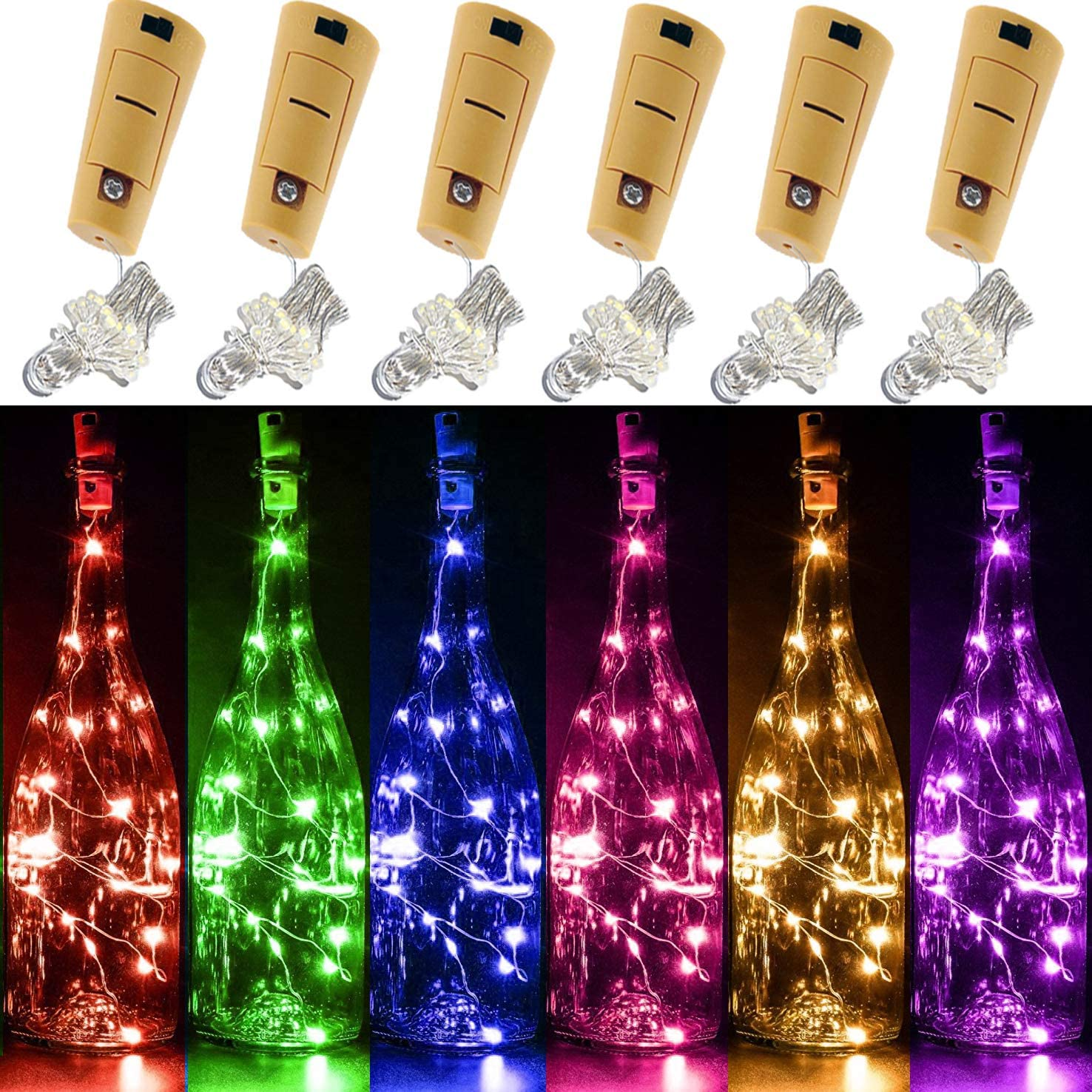 Yitee 6 PCS 6 Colors LED String Light, Battery Operated Wine Bottle Cork Lights 20 Starry LED Copper Wire Lights, 6.5 Feet 2M,Best for Mason Jar Lights,Moon Lights,Party,Wedding and Home Decoration