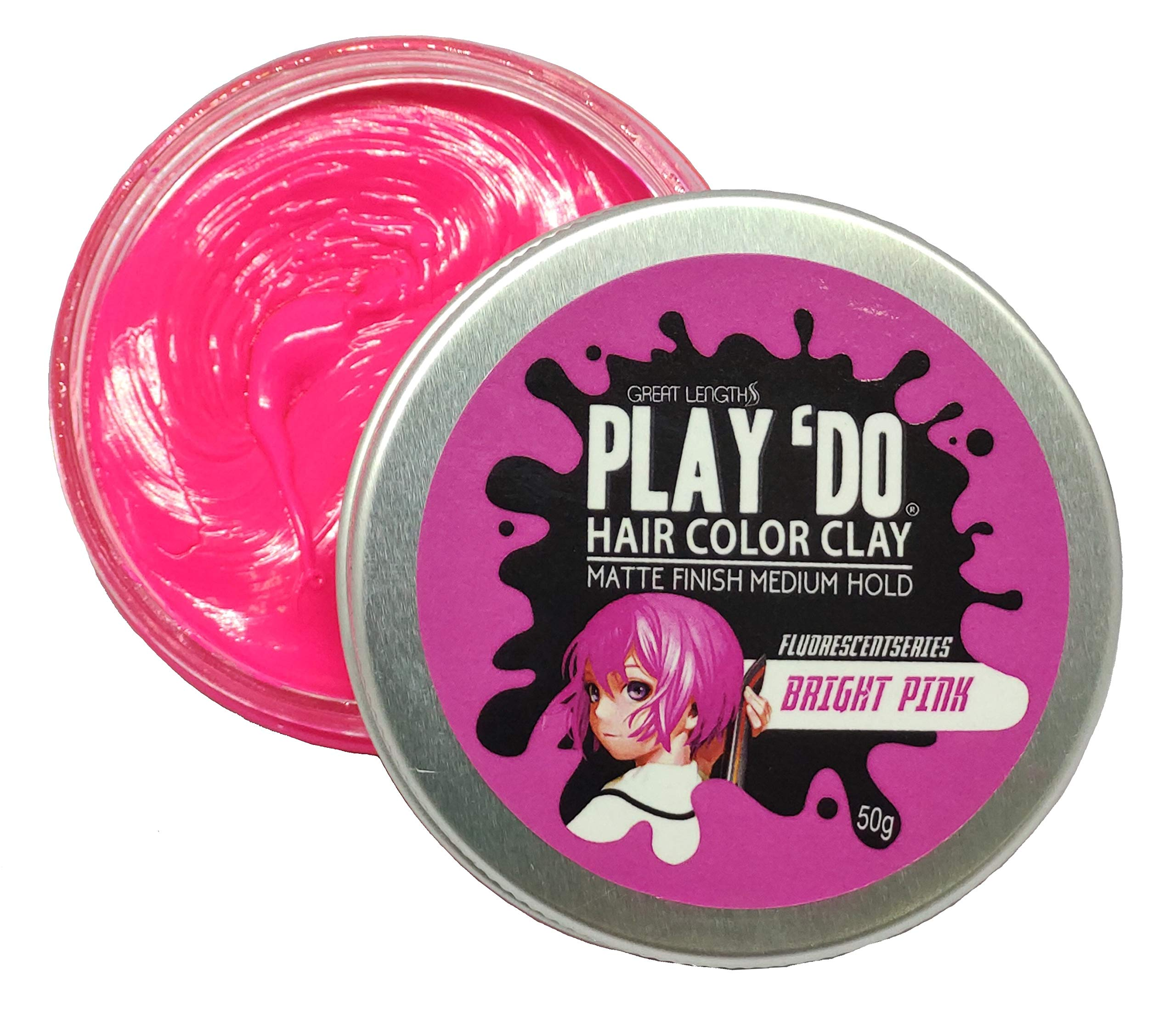 Play 'Do Temporary Hair Color Bright Neon Pink, Hair Wax, Hair Clay, Mens Grooming, Pomade, Pink hair dye(1.8 ounces) by Great Lengths
