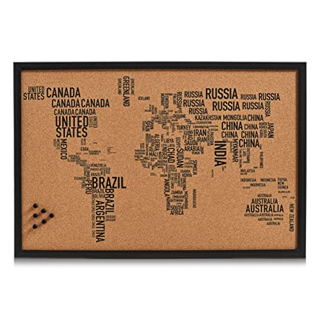 Zeller 11570 Pin Bord World Letters, Corcho, Negro, 60 x 40 ...