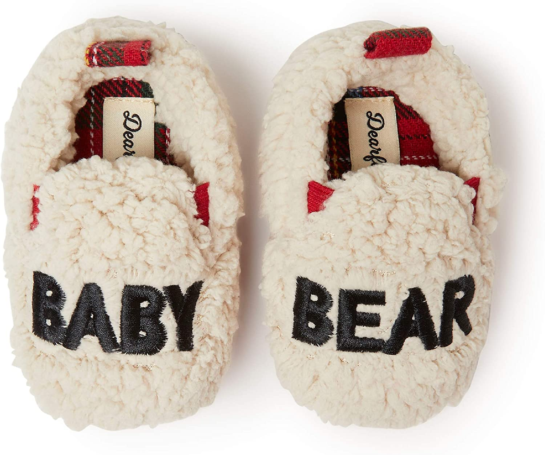 Dearfoams Family Collection Baby Bear Plaid Closed Back Slipper