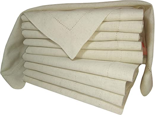 Amazon Com Linen Clubs Pack Of 12 Flax Cotton Designer Dinner Napkins20x20 Hemstitched Natural Color Premium Linen Look 20 Linen 80 Cotton Natural Fiber Home Kitchen