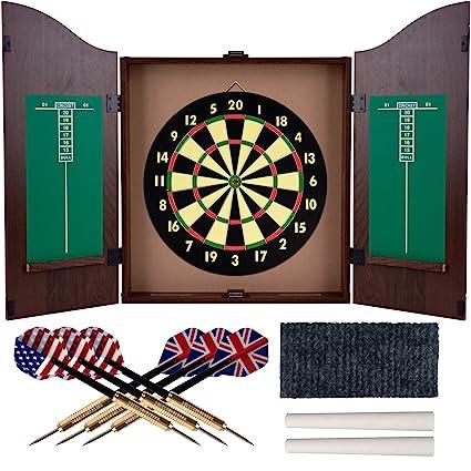 Marvelous TG Trademark Gameroom Dartboard Cabinet Set With Realistic Walnut Finish