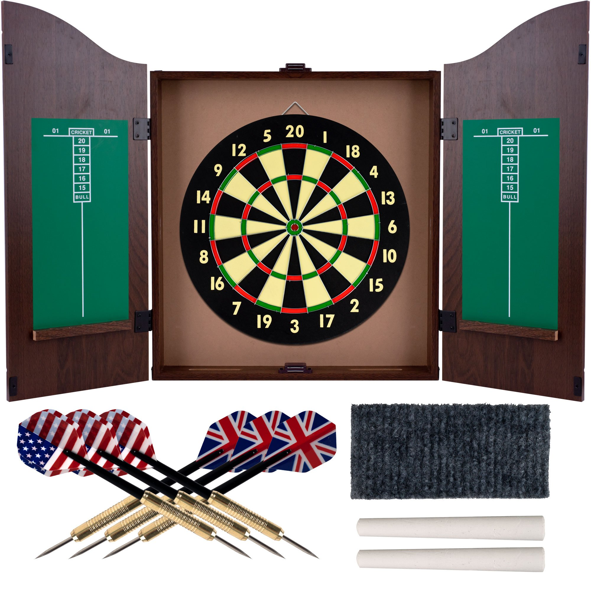 Trademark Gameroom Dartboard Cabinet Set with Realistic Walnut Finish