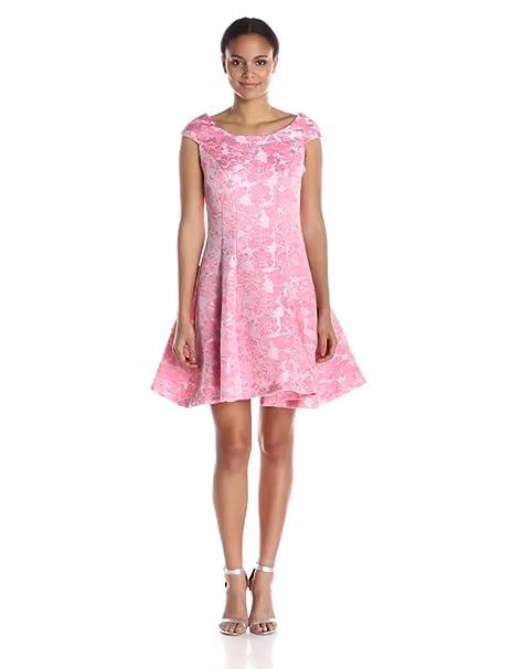 Betsey Johnson Womens Pink Jacquard Cap Sleeve Dress At Amazon