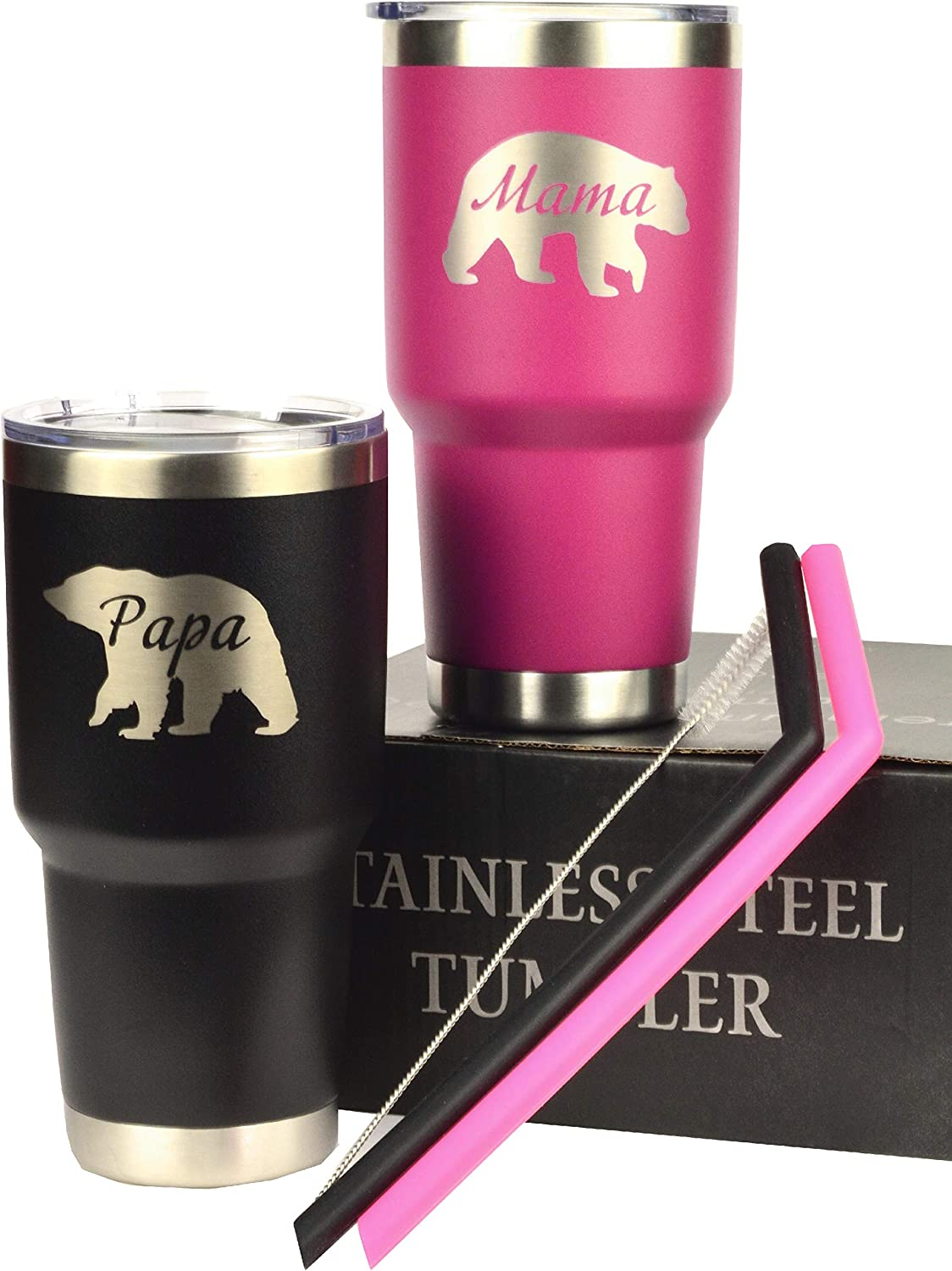 """Mama Bear Wine Tumbler, Papa Bear Wine Tumbler, Engraved """"Mama Bear"""", """"Papa Bear"""" Stainless Steel Vacuum Insulated Tumbler Large 30 oz for Father's Day Mother's Day Christmas, Dad Birthday"""