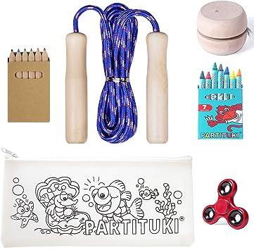 Partituki Pack Juegos Infantiles y para Colorear Incluye: Kit de 7 Ceras, Set de 6 Lápices, Comba de Saltar, Yoyo de Madera para Niños, Estuche para Colorear y Finger Spinner: Amazon.es: Juguetes