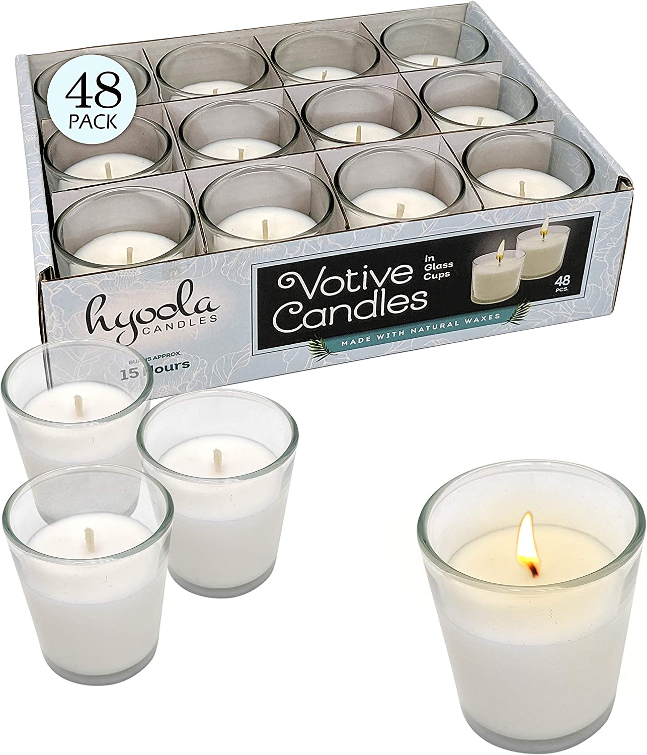 White Votive Candles - 48 Pack - Clear Glass Cups, Unscented, Extra Long 15 Hour Burn Time - for Party Decorations, Birthday, Wedding and Dinner Centerpieces - Hyoola